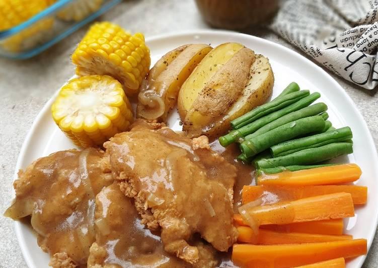 Resep Steak Ayam Crispy Saos Lada Hitam Anti Gagal