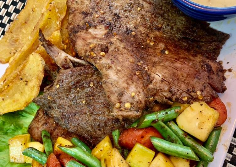 Pan Seared Beef steak with grilled vegetables