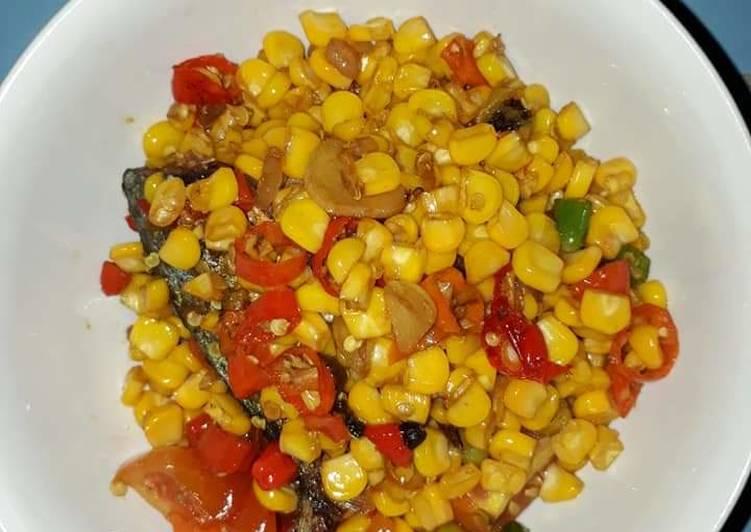 Tumis ikan asin peda with jagung