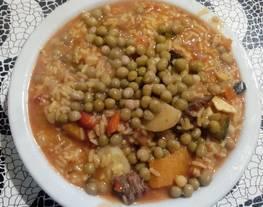 Guiso de Arroz con vegetales con carne