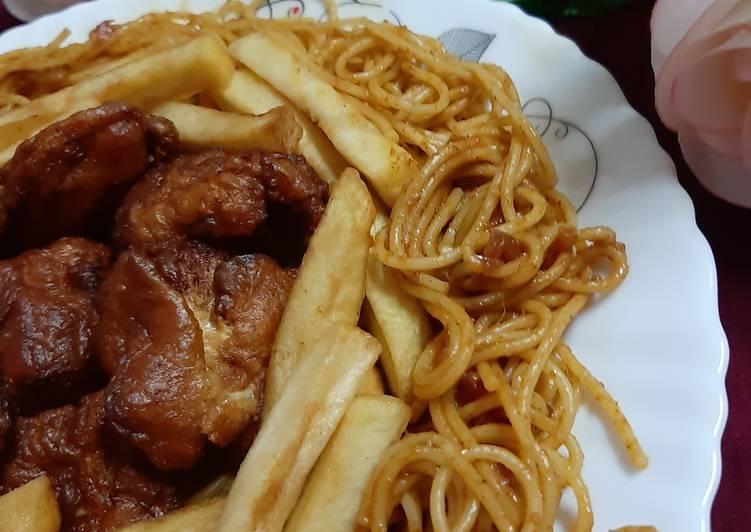 Fry Chicken, Fries, Spaghetti 😋 Recipe by Naila Asif