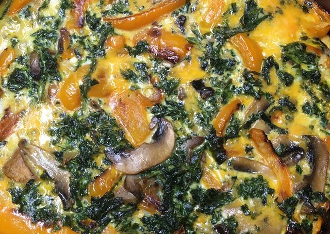 How to Make Delicious Keto Friendly Kale, Bell Pepper, Mushroom Quiche