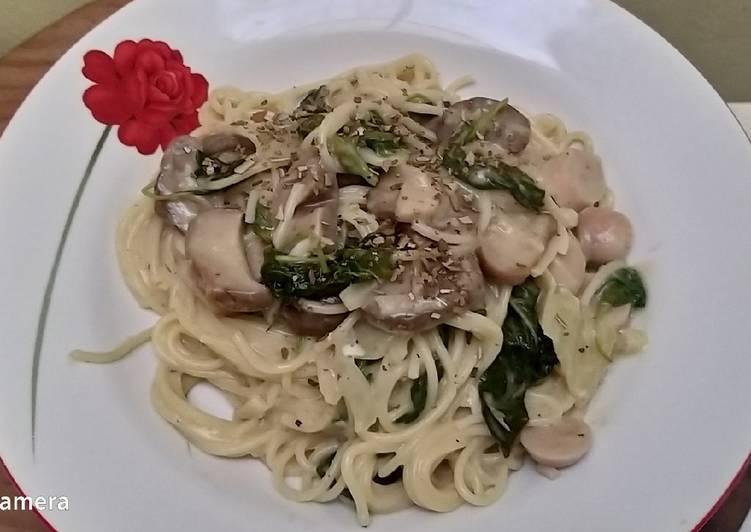 Recipe: Delicious Spaghetti spinach mushroom creamy