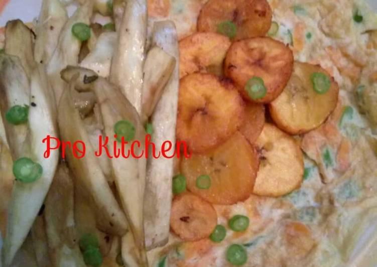 Veg Egg, sweet potatoes Nd plantain