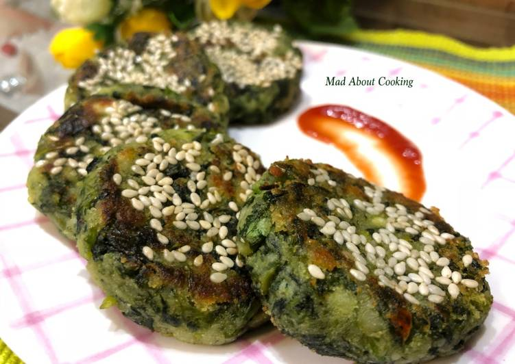 Healthy Hara Bhara Kabab With Sweet Potato- Green Veggies Cutlets – Non Fried Snack Recipe