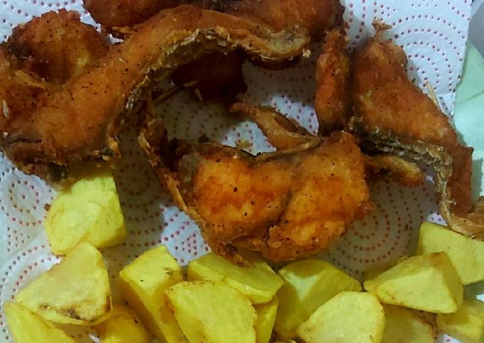 Fish and roast potatoes