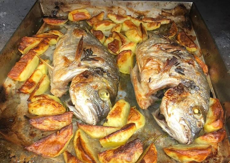 Ricetta Orate in forno (a legna) Con patate