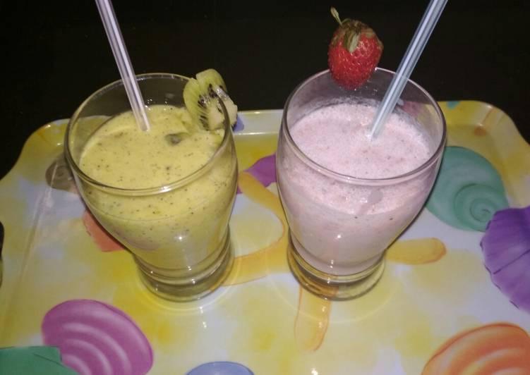 Strawberry and kiwi milk shake