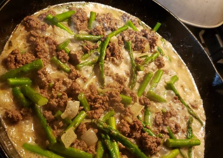 Creamy Ground Beef & Asparagus (Asparagus Daging Cincang)