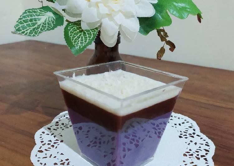 Puding Ubi Ungu with cream cheese homemade