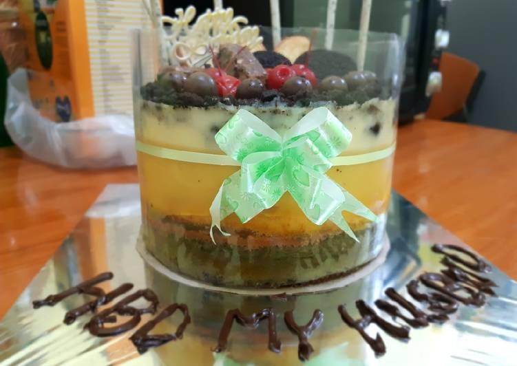 Cake birthday aneka rasa mix dengan puding roti tawar no mixer