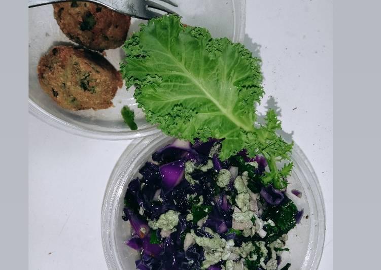 Tumis sayur kale dan kol ungu