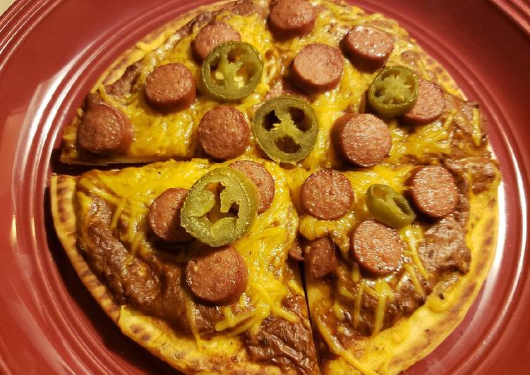 Mantastic Chili Cheese Dog Pizza