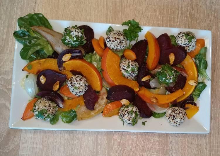 🍁 Herbstlicher Salat 🎃 mit Quinoa - Bällchen