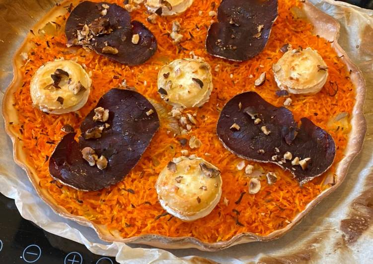 Tarte chèvre carottes noisettes