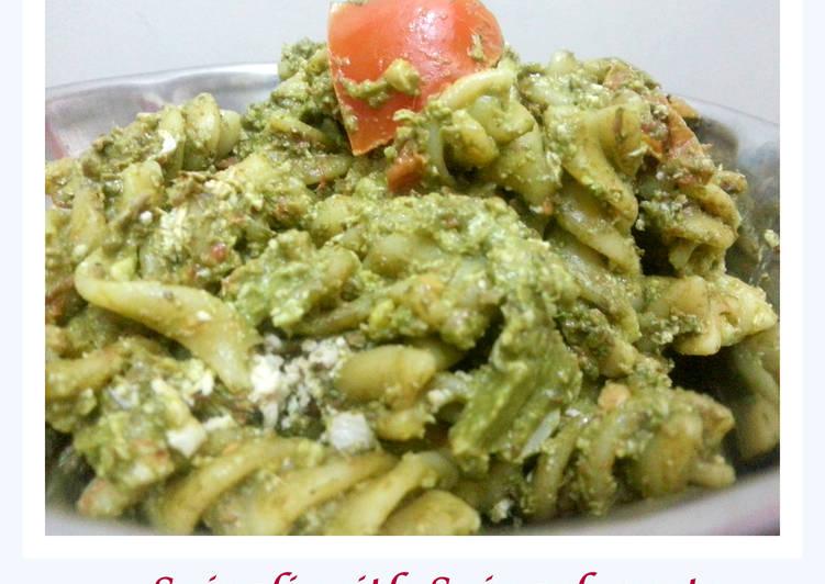 Steps to Prepare Quick Spirali with Spinach pesto