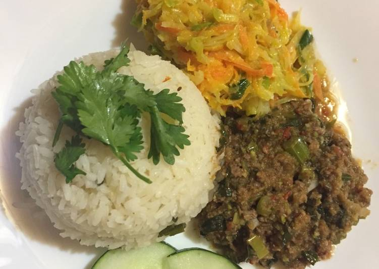 Celery and minced meat stir fry served with rice