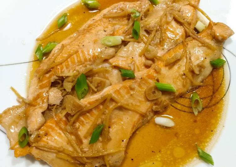 Salmon bellies braised in sweet soy and ginger