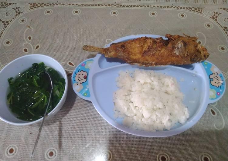 Ikan Kerapu Goreng + Sayur Bayam Bening (MPASI)