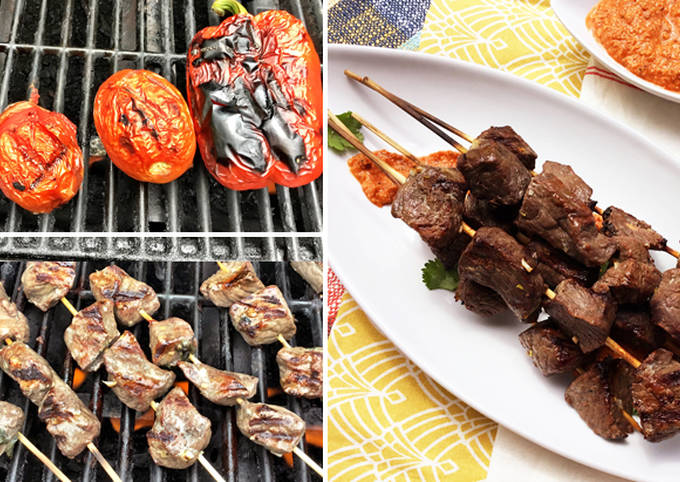 Grilled Fullblood Wagyu Beef Kabobs with Romesco Sauce