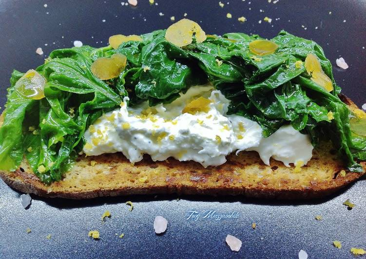 How to Cook Delicious Bruschetta di pane di segala tostato, con burrata, cime di rapa e bottarga