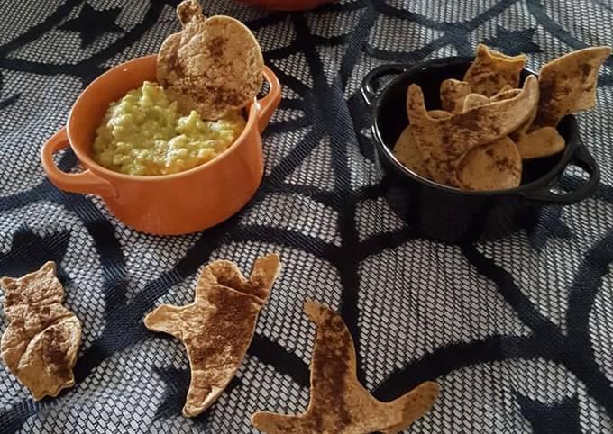 Guacamole et chips tortilla