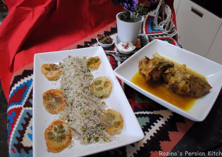 Persian dill and fava beans rice with lamb shank (baghali polow BA mahichey)