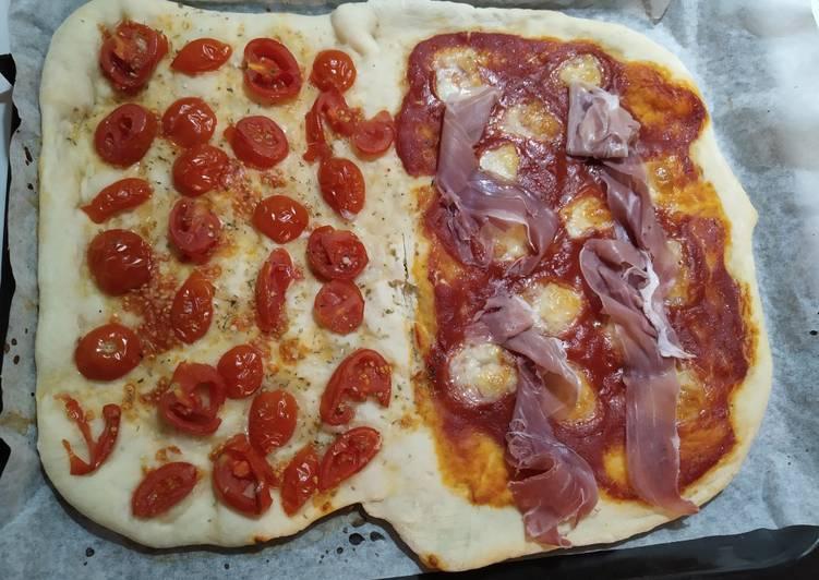 Ricetta Focaccia con pomodorini e pizza al crudo
