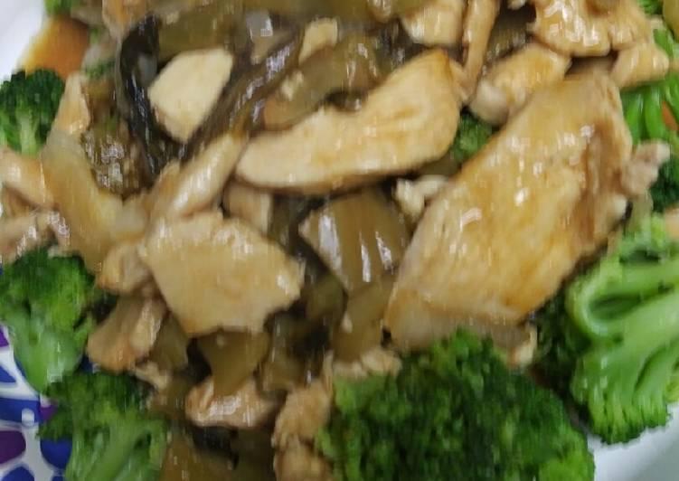 Ginger Chicken over Broccoli