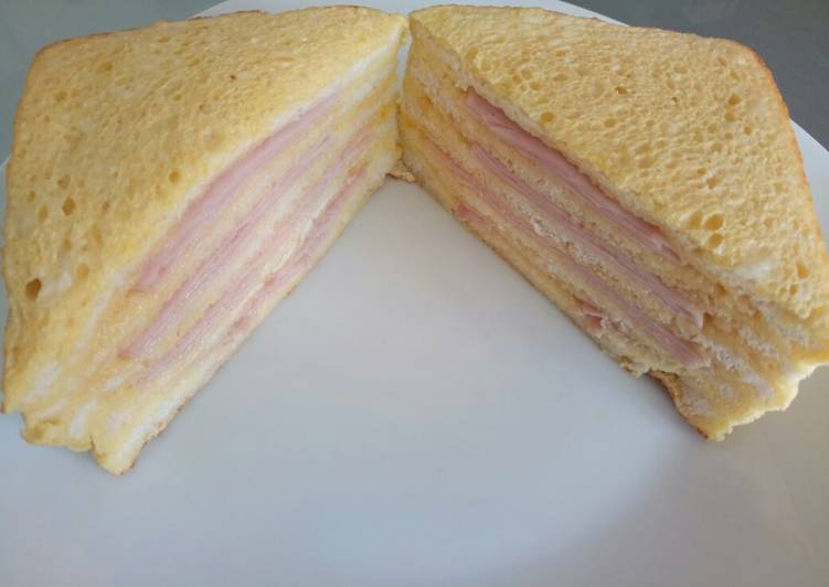 How to Cook Yummy Fluffy's ham egg and cheese baked big sandwich