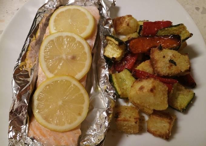 Garlic roasted veg with oven baked salmon