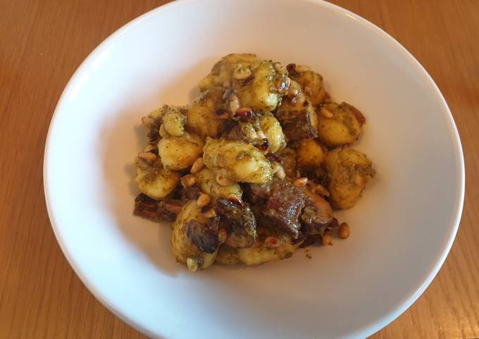 Gnochi with Mushrooms and Pine Nuts