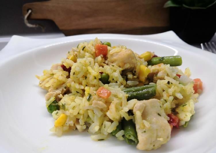 """Currys, mexikói zöldséges """"rizses hús"""" recept foto"""