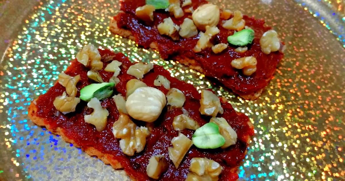 Canapés de sobrasada y frutos secos (veganos)