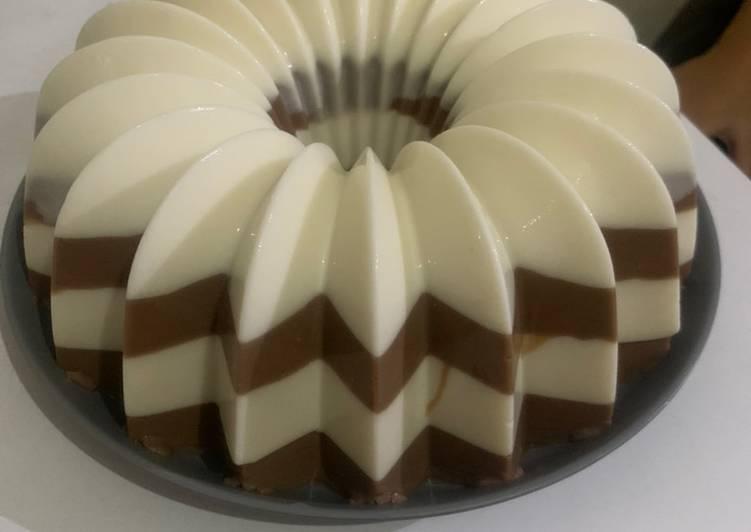 Pudding susu coklat dan vanila