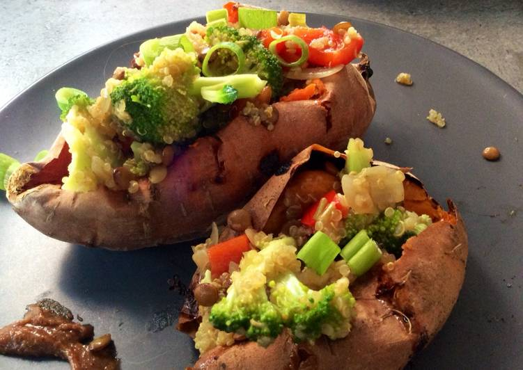 Quinoa & Red Lentil Stuffed Sweet Potatoes Deciding on Healthy Fast Food