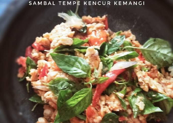 sambal tempe kencur kemangi - resepenakbgt.com