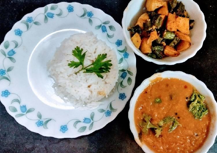 Dalchaval and bheedi aloo Choosing Healthy and balanced Fast Food