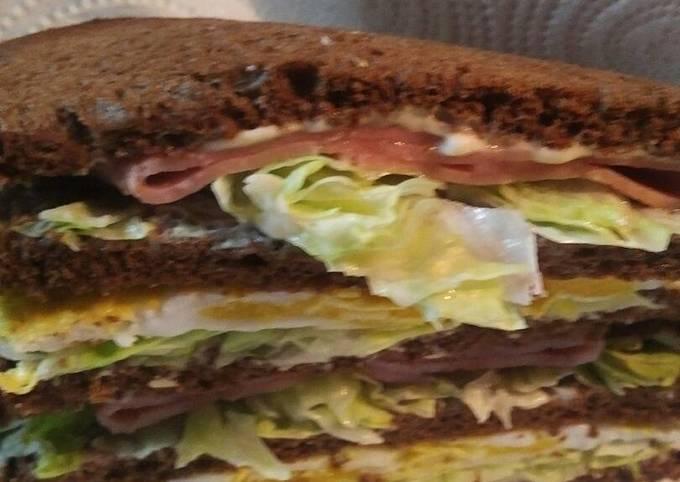 Recipe: Yummy Ham and Eggs on Rye Pumpernickel Bread