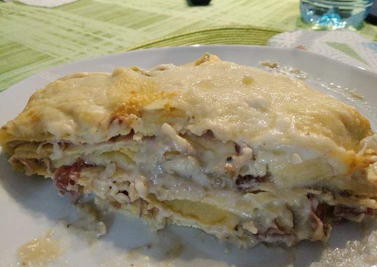 Lasagne con pesto di melanzane, caciocavallo e speck