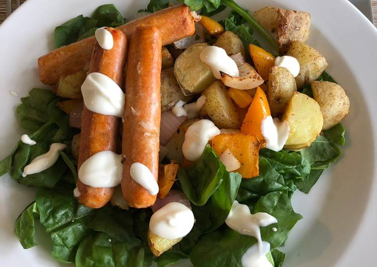 Curried Potato Sausage Traybake
