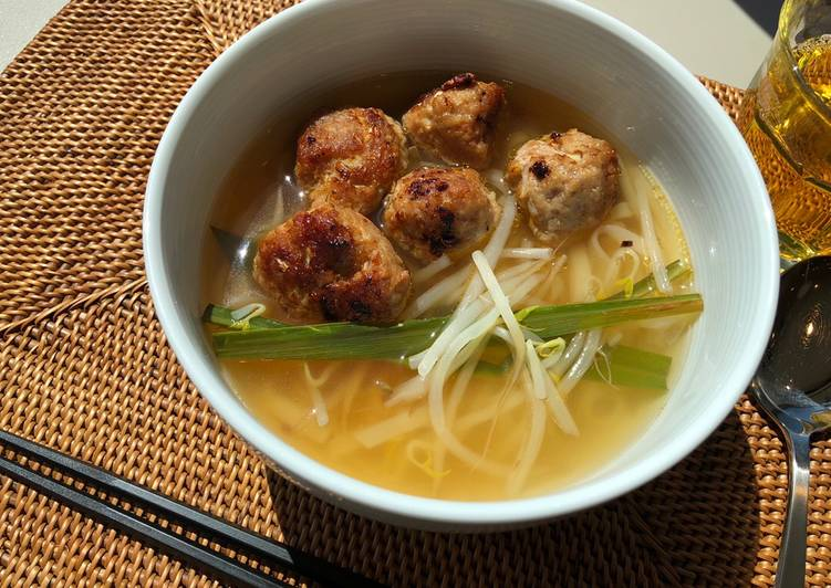 Meat dumpling pho with great aroma of lemongrass