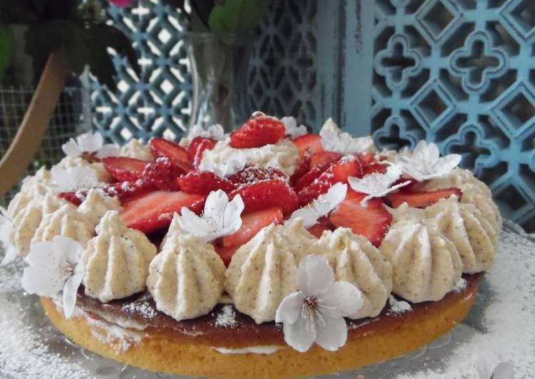 recette 🍰🍓Gâteau au chocolat blanc et au Philadelphia, fraises et ganache montée au beurre d'amandes🍓🍰 délicieux