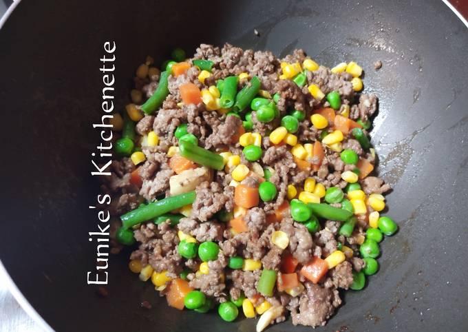 Tumis Mix Vegetables campur daging cincang