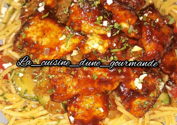 ♨️ Spaghettis, poêlé de légumes au wok & poulet chinois ♨️