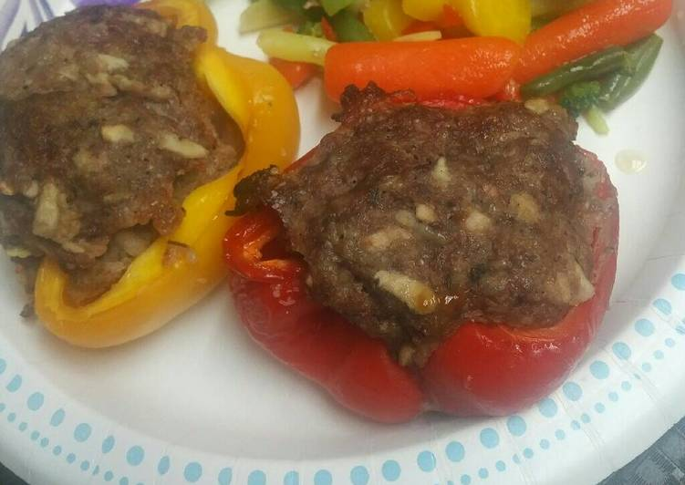 Steps to Make Favorite Stuffed Peppers Sausage, Beef, and Apples