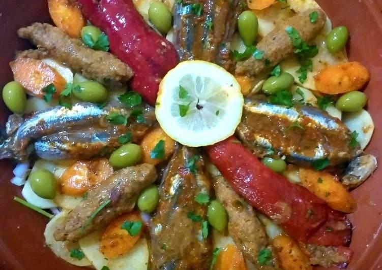 Comment Préparer Les Tajine de sardines avec des légumes، olives vert
