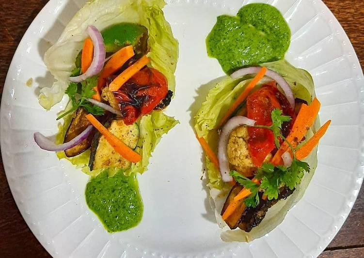 Steps to Make Ultimate Grilled vegetable lettuce pockets
