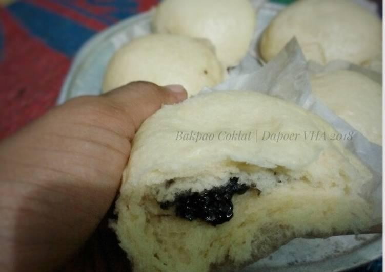 resep cara membuat Bakpao coklat menul dan lembut #RotiTanpaOven