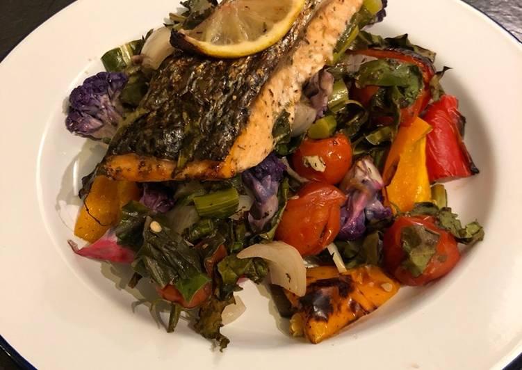 Rainbow roast salmon and veg 🌈
